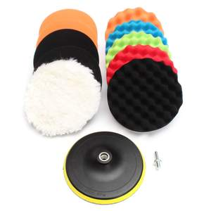 "3"" 5"" 6"" 7"" Waffle Sponge Buffer Car Buffing Polisher Pads Foam Polishing Set 11Pcs"