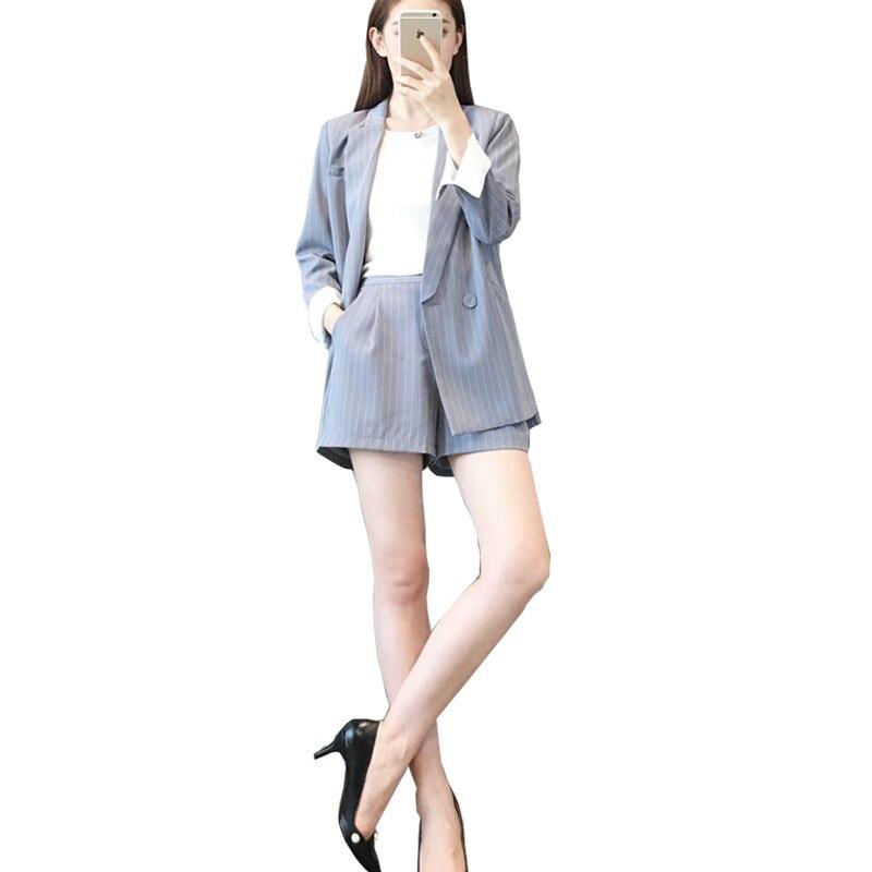2018 printemps et été commuter femmes nouveau coréen décontracté dames rayé costume veste mode shorts costume deux ensembles TB18608