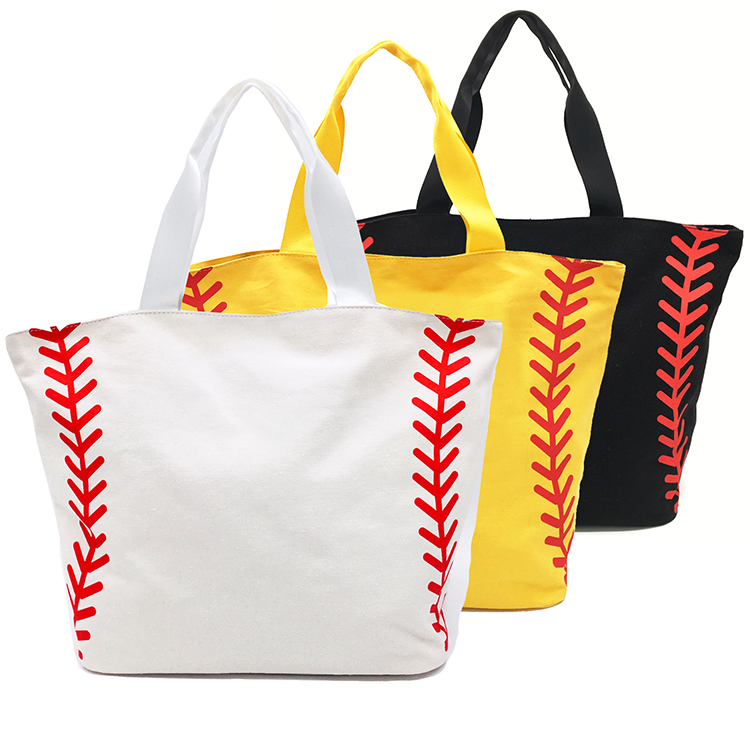 Softball Baseball Canvas Cotton Sports Girls Tote Bags Team Players Super Big Large Size Women Accessories Yellow White Handbags tote bag