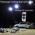 12 V Luzes Brancas LED Telescópica Vara De Pesca Ao Ar Livre Lâmpada de Lanterna de Acampamento com Controle Remoto IR 4 M Haste