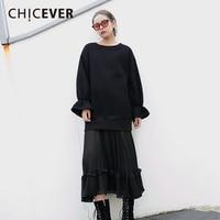 CHICEVER Winter Patchwork Chiffon Dress Female Flare Sleeve Loose Big Size Velvet Black Pleated Women Dresses