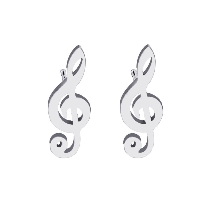 Cacana Stainless Steel Stud Earring Music Treble Clef IMG_4523