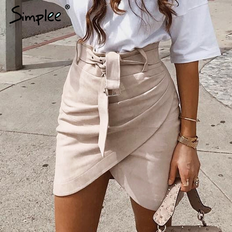 Simplee Asymmetric Suede Leather Skirts Womens High Waist Sashes Winter Skirt Female Ruched Bodycon Pink Short Skirt Autumn 2018