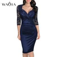 Frauen Herbst Kleid Mode-elegante Vintage Rockabilly Spitze Sleeve V-ausschnitt Geraffte Casual Partei Bodycon Bleistift Etuikleid S-XXL