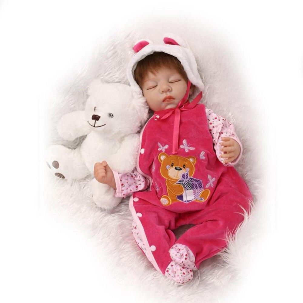 Adorable poupée Reborn 55 CM fait à la main en Silicone Bebe Reborn poupée Boneca en vêtements mignons poupées bébé réalistes pour les filles accompagnant