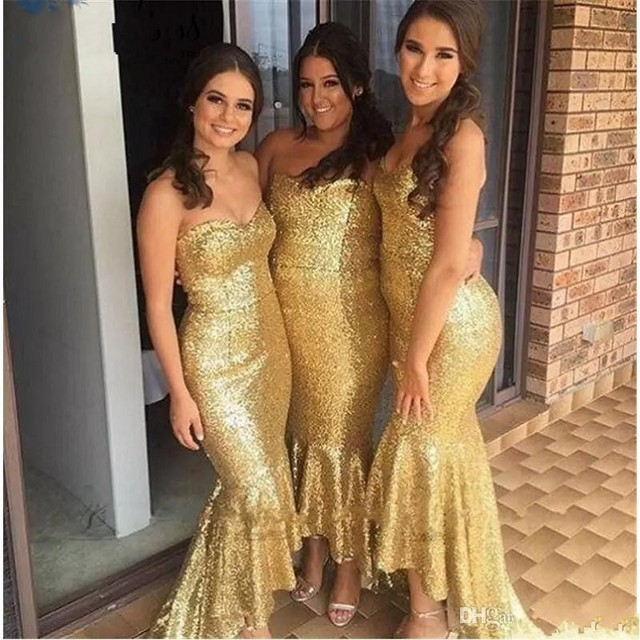 7e0c67669b483 2017 Sparky Gold Sequins Bridesmaids Dresses Sweetheart Neck High Low  Mermaid Plus Size Wedding Maid Of Honors Dress Custom made