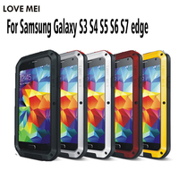 Love Mei Shockproof Aluminum Military Bumper Phone Shell Case For Samsung Galaxy S5 S6 S6 Edge S7 S7edge
