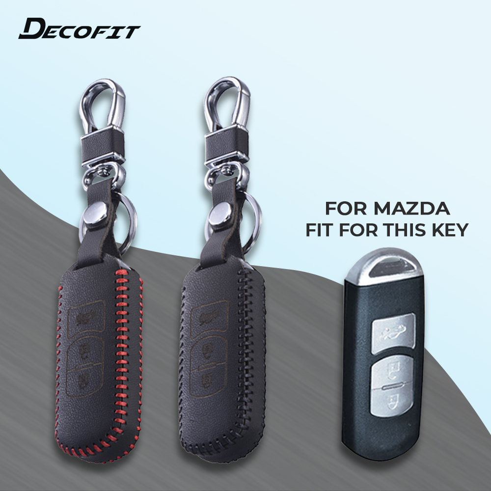 Top Leather Key Cover for Mazda 2 3 5 6 CX-3 CX-4 CX-5 CX-7 CX-9 <font><b>RX8</b></font> Atenza Axela MX5 Smart 2 3 buttons key Case Shell Keychain image