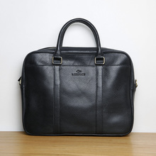 LANSPACE genuine leather briefcase men brand high quality leather men bag