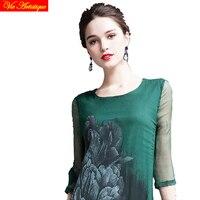 여성의 렌더링 스케이팅 드레스 여자의 긴 캐주얼 사무실 느슨한 맞춤 실크 드레스 녹색 쉬폰 꽃