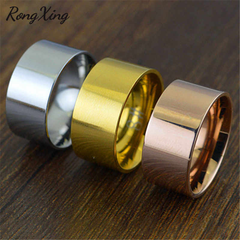 RongXing Retro Gold/Silver/Rose Gold 10mm Wide Band Rings For Women Men Vintage Titanium Steel Ring Fashion Jewelry Gifts CH0025