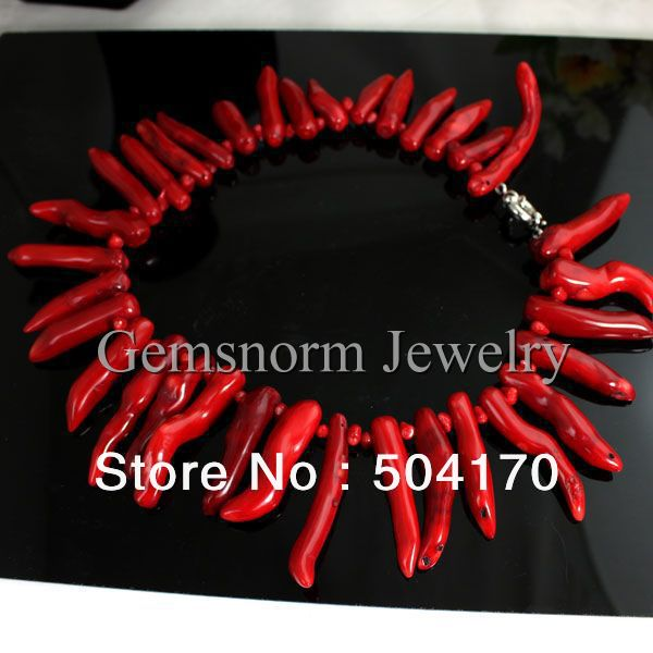 Marvelous Irregular Red Coral Necklace African Coral Beads Necklace Free Shipping CNR055