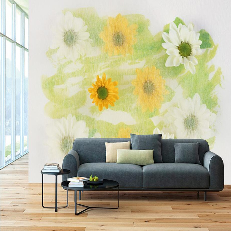Custom 3D Wallpaper Photo Wall Murals European Flowers Sofa TV Background Wall Stickers Home Decor 3D Wall Murals Wallpaper Roll high quality diy romantic flowers pattern wall stickers for home decor