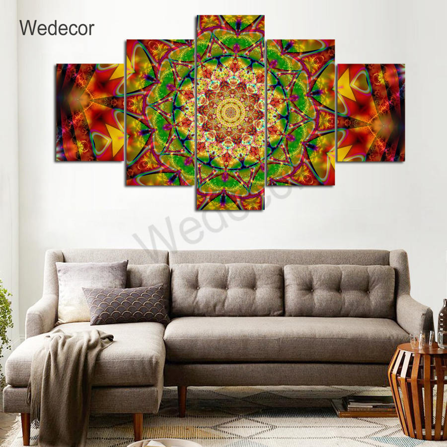 5 Pieces Canvas Paintings Thangka Mandala Buddha pictures home decor framed wall art WD-1154