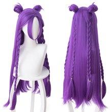 Peruca para cosplay lol kda kaisa, de alta qualidade, peruca sintética resistente ao calor + peruca tampa com gorro