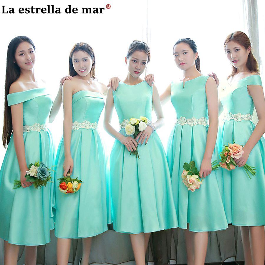Vestido Madrinha Curto 2020 Satin Lace Cap Sleeves 5 Style Mint Green Bridsmaid Dresses Tea Sukienka Dla Druhny Cheap Damigella