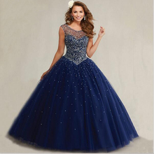 2016 Plus Size Masquerade Ball Gowns Puffy Sweet 16 Navy Blue Quinceanera Dresses Pearls Cap Sleeves Sparkly Luxury Crystals