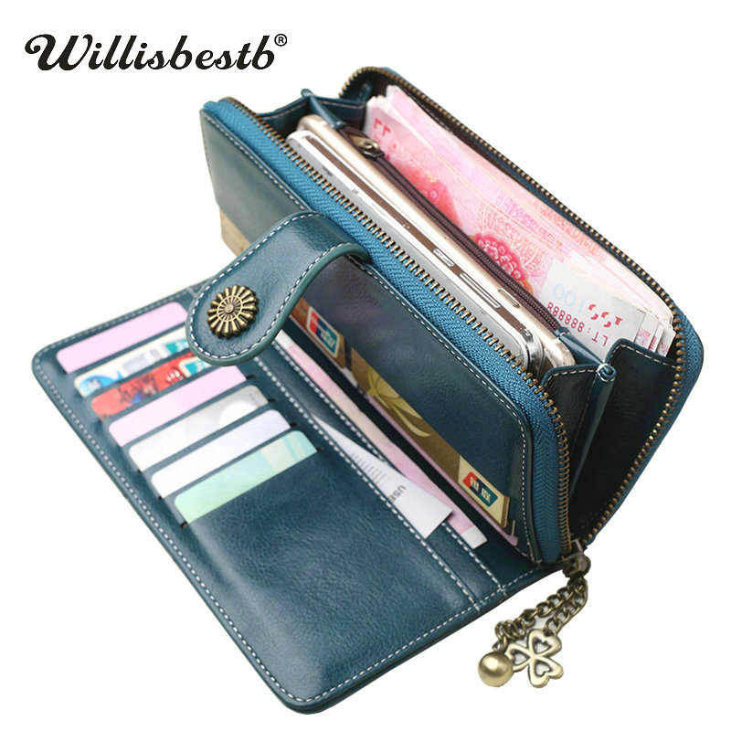 New Vintage Button Phone Purses Women Wallets Female Purse Leather Brand Retro Ladies Long Zipper Woman Wallet Card Clutch