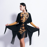 Latin Dance Dress Ladies Long Sleeve Leopard Womens Dresses Cha Cha Rumba Samba Dancing Clothes Latin Practice Wear DNV10871