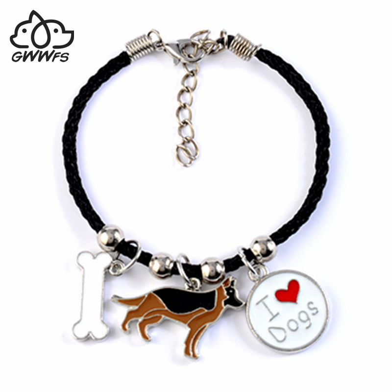 Cão pastor alemão charme pulseiras para homens mulheres meninas corda cadeia cor prata liga pingente masculino feminino pulseira amigos presente