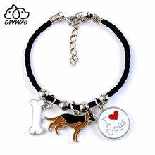 Owczarek niemiecki wisiorek dla psa bransoletki dla kobiet mężczyzn dziewczyny rope chain srebrny kolorowy ze stopu wisiorek mężczyzna kobieta bransoletka przyjaciele prezent