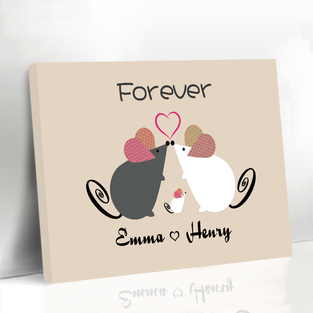 Cartoon Fingerprint Guest Book Baby Shower Favors and Gifts Mouse Family Baby Guest Book Canvas Printing Supplies with Frame