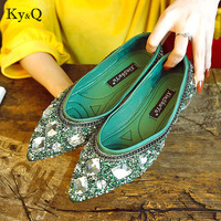 Summer Luxury Rhinestone Ballet Flat Shoes Women Spring Autumn Butterfly Pointed Toe Golden Shoes Loafers Size 40