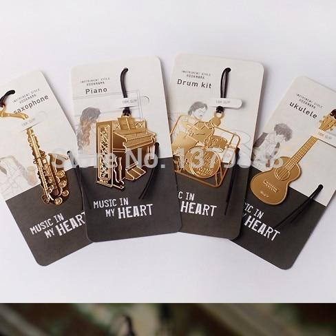 4PCS/LOT 4 Style Cute Kawaii Golden Metal Music Bookmarks Piano Guitar Trumpet Designs Book Marks