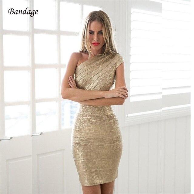 2018 New Fashion Sexy One-Shoulder Gold Bandage Dress Bodycon Club Party  Prom Glitter Dress 7f2f445baf1b