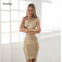 2018 New Fashion Sexy One Shoulder Gold Bandage Dress Bodycon Club Party Prom Glitter Dress For Women Short Christmas Dresses