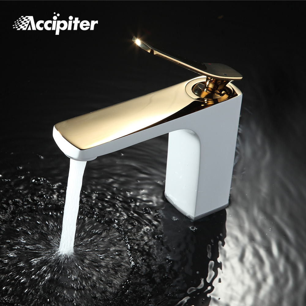 Bathroom Faucet Chrome/ Gold White Painting Faucet Basin Sink Mixer Tap Brass Made Deck Mounted Basin FaucetBathroom Faucet Chrome/ Gold White Painting Faucet Basin Sink Mixer Tap Brass Made Deck Mounted Basin Faucet