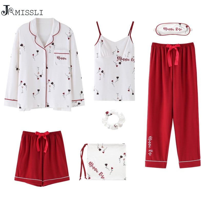 JRMISSLI Spring Women 7 Pieces   Pajamas     Sets   100% Cotton   Pajamas   Women Sleepwear   Sets   Autumn Tops+Shorts+Shirt+Pants