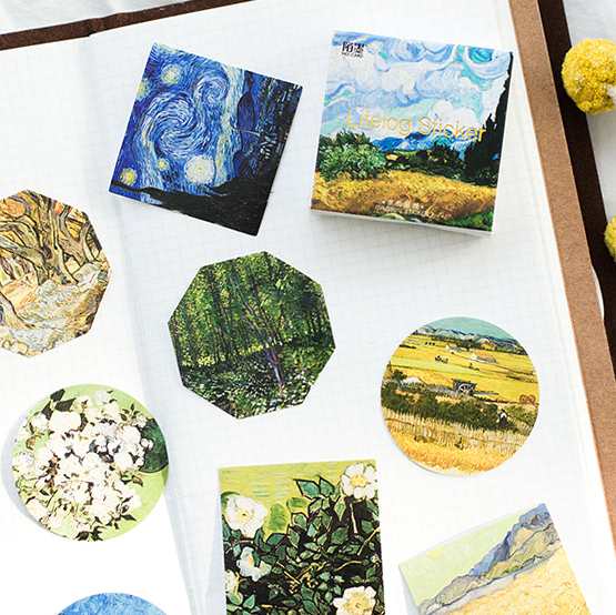 45 Pcs/lot Cute Van Gogh Oil Painting Mini Paper Sticker Decoration Diy Ablum Diary Scrapbooking Label Sticker Kawaii Stationery hand painted famous oil painting the lris of vincent van gogh multicolored