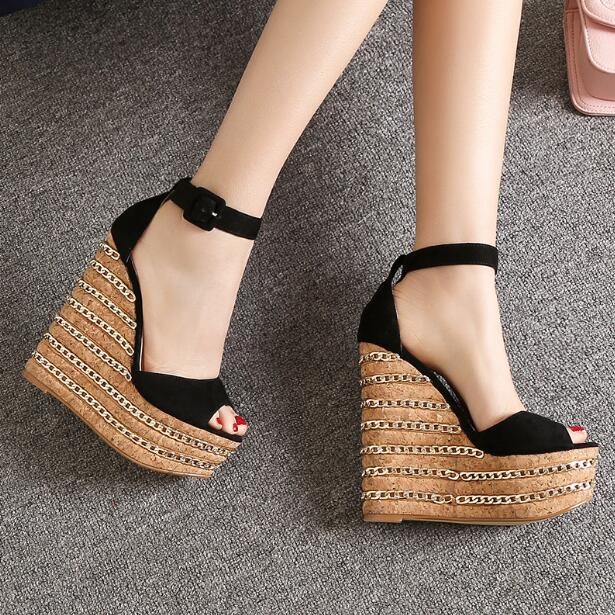ФОТО BERDECIA women tuede wedges-heeled shoes with strap Summer footwear chuassure female platform sandals with peep toe chain design