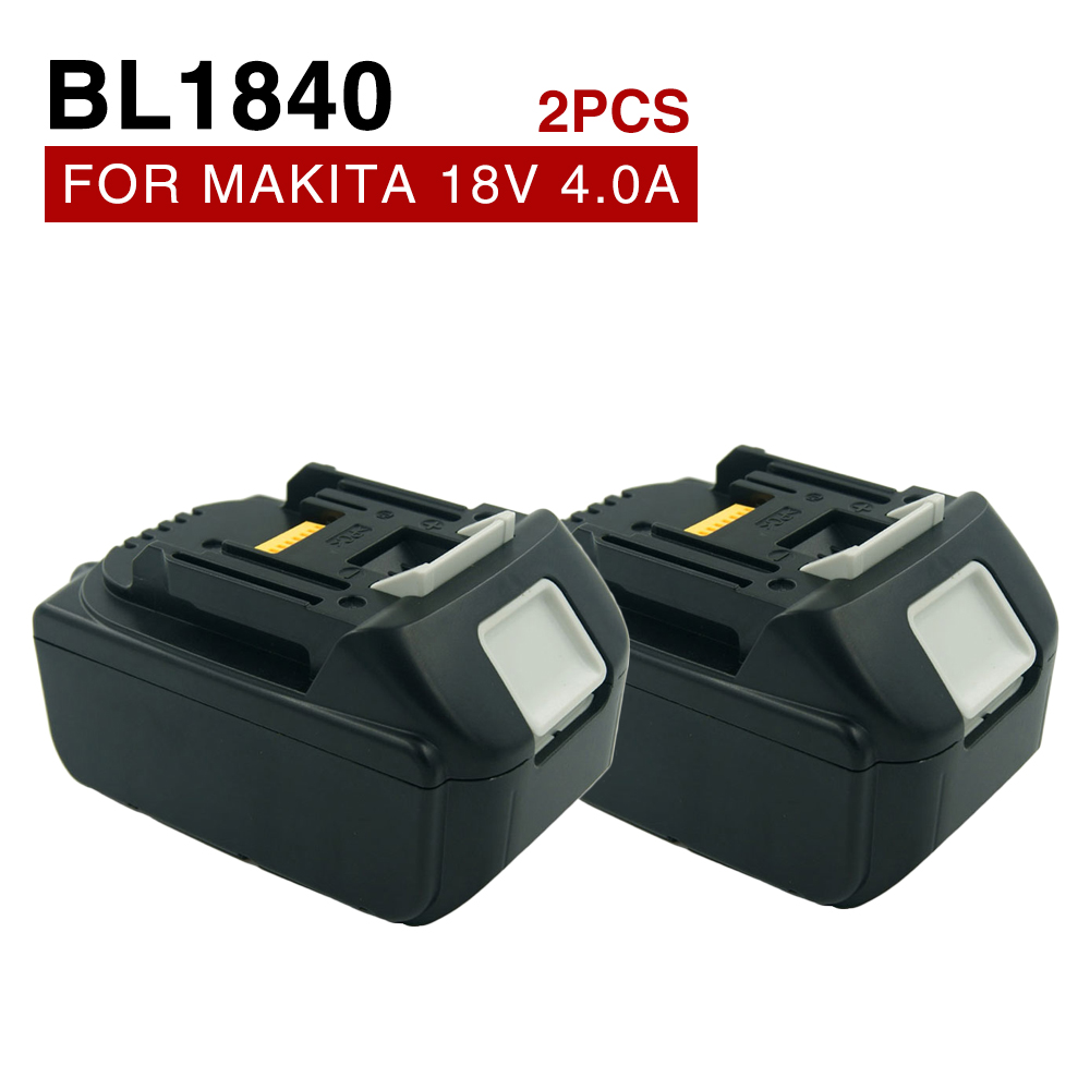 2pcs/lot 18V 4000mAh /4.0Ah BL1840 Rechargeable battery for Makita 194205-3 194309-1 BL1815 BL1830 LXT400 5000mah rechargeable lithium ion replacement power tool battery packs for makita 18v bl1830 bl1840 bl1850 lxt400 194205 3 p25