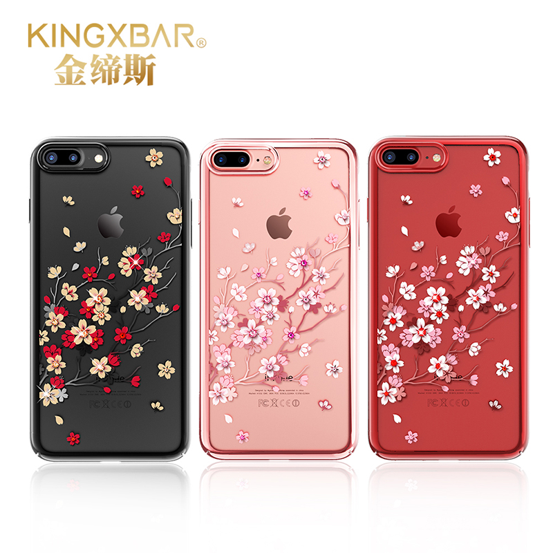 Cover with Rhinestones Original Kingxbar Cover For iPhone 7 7 Plus Sakura Style TPU Crystal From