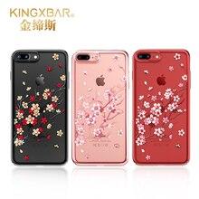 Крышка со стразами оригинальный kingxbar крышка для iPhone 7 7 Plus Сакура Стиль ТПУ Crystal от Swarovski для iPhone 7 плюс