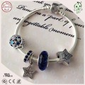 New Arrival  Famous Brand Silver Jewelry Stars Charms Design 925 Real Silver Charm Bracelet
