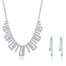 JEXXI Hot Selling Bride Classic Full Clear Rhinestone Crystal Necklace Earrings Set Fashion Wedding Jewelry Sets Accessories