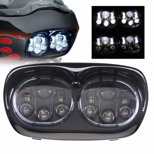 for Harley accessory   LED Dual Road Glide Motorcycle Headlight 45W X 2,for  Harley Motorcycle parts 12v DOT Approved