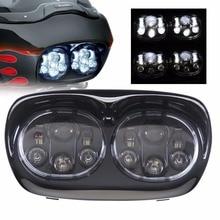 用アクセサリー ledデュアルロードグライドオートバイヘッドライト45ワット × 2、ハーレーのオートバイ部品12v dot承認