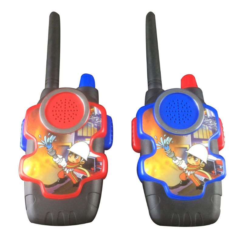 2Pc Cute Plastic Kids Pretend Firefighter Walkie Talkie Portable Outdoor Camping Game Interphone Kids Educational Toy