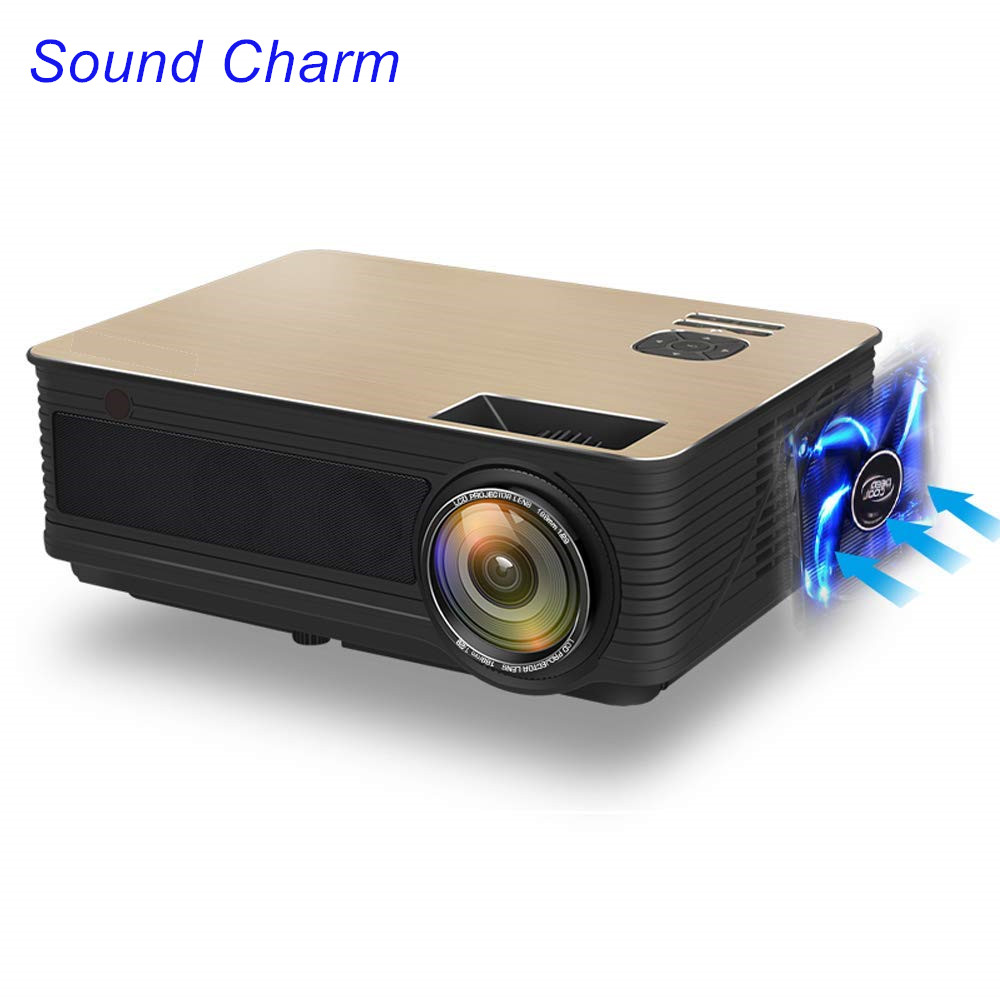 Sound Charm Full HD 5500 Lumens LED Video Home Projector With 2HDMI 2USB AV VGA Ports(China)