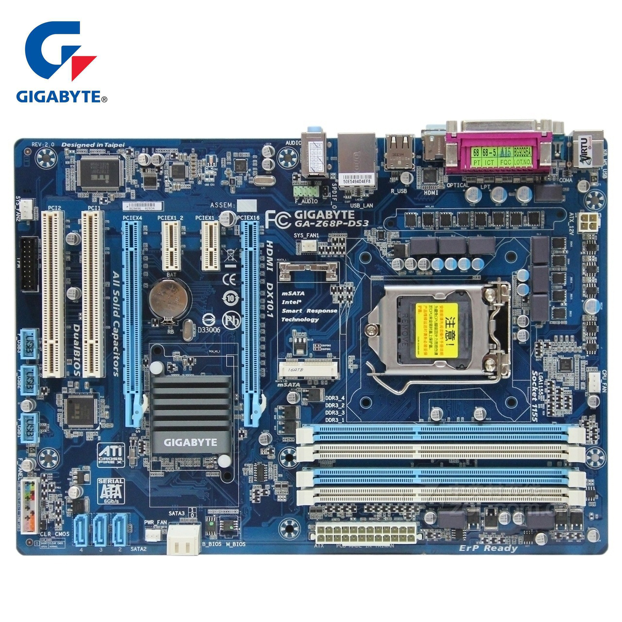 Gigabyte GA-Z68P-DS3 Original Motherboard LGA1155 DDR3 32G For Intel Z68 Z68P DS3 Desktop Mainboard SATA III II PCI-E 3.0 Boards gigabyte ga h61m s1 desktop motherboard h61 socket lga 1155 i3 i5 i7 ddr3 16g uatx uefi bios original h61m ds1 used mainboard