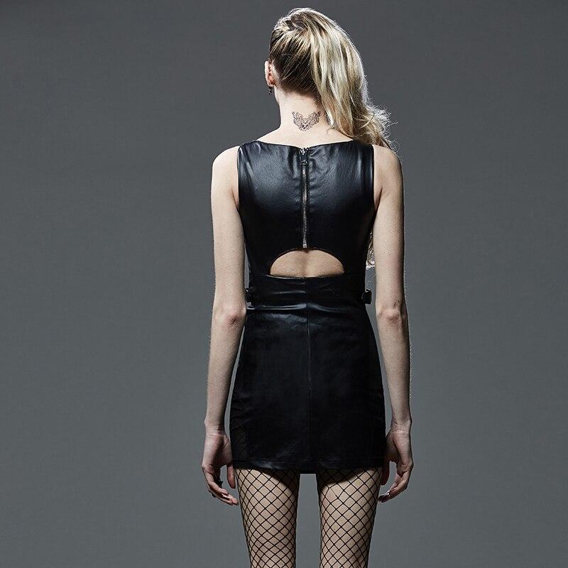 Simple Serré V Maille Sexy Robe Couture Bretelles Percé De Mini Zipper Black Gothique cou Dos Ouvert Soirée Transparent XFqqw5M1