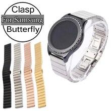 Für Samsung Luxus Uhr Band Edelstahl Link Armband Getriebe S2 Klassische SmartWatch Stilvolle Handschlaufe Mit Butterflyschließe