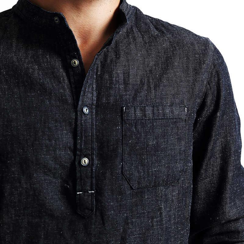 SIMWOOD nuevo otoño 2019 camisas de hombre de manga larga de mezclilla camisa de moda de algodón y lino ropa de marca casual CS1566