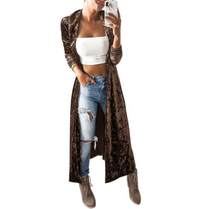 New Autumn Velvet Coat Women Ashion Open Front Long Sleeve Lapel Neck Slim Windbreaker Party Maxi Long Jacket Cardigan