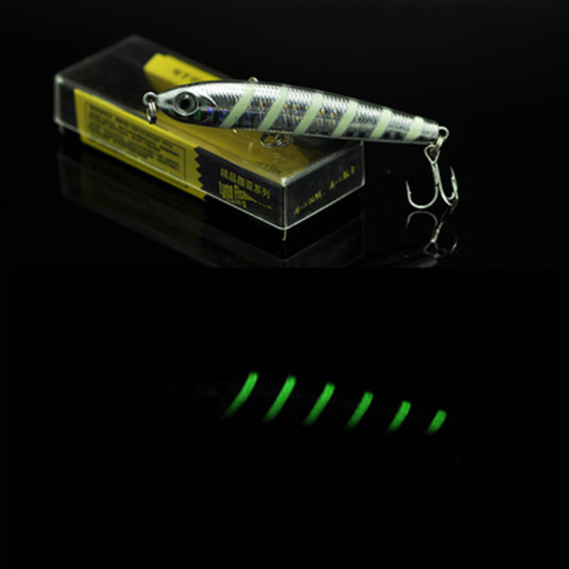 Long Shot Sinking Pencil Lure 7cm 7g Front Spoon Glow Night Hard Spinner Bait Owner Treble Hooks For Culter Fishing sinking pencil shaped fishing lure jig head soft fish glow bait 11cm 22g for long range casting