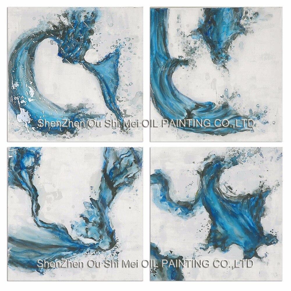 remolinos en azul pintado a mano abstracto pintura al leo sobre lienzo hogar decoracin moderna imagen de los pescados para la